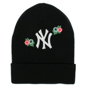 Gucci NY Yankees Floral Embroidered Knit Beanie